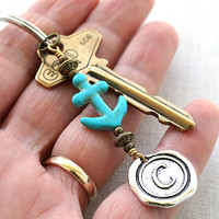 Personalized Keychain, Initial Keychain, Anchor Keychain, Monogram Keychain, Wax Seal, Turquoise Accessory, Nautical Gift for man