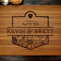 Personalized Cutting Board (Pictured in Amber), approx. 12 x 16 inches, Flowers, Wedding Monogram - Wedding gift, Anniversary gif
