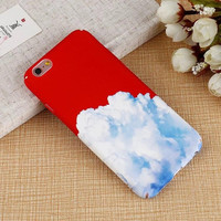 Snow Mountain Painting Phone Cases For iphone 7 Case White Clouds Hard Coque For iphone7 6 6s Plus Back Cover Fundas Newest -0329