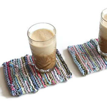 Mini Snack Mats Cottage Pink Aqua Blue Green Gray French Country Artisan Knitted Upcycled TShirts (set of 2) --US Shipping Included