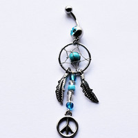 Dreamcatcher Belly Button Ring, peace sign Navel Jewelry, belly ring, gypsy belly button ring, dreamcatcher jewelry, belly piercing
