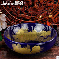 Round Bathroom Lavabo Ceramic Counter Top Wash Basin Cloakroom Hand Painted Vessel Sink 5003