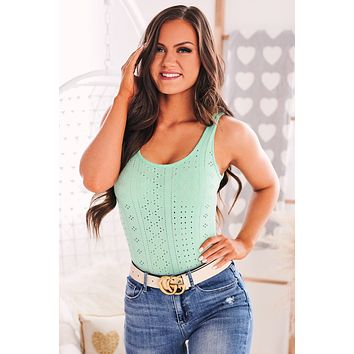 County Line Scoop Back Eyelet Bodysuit (Mint)