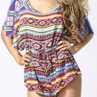 Geometric Print Short Sleeve Drawstring Romper