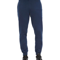 Tapered Cotton Sweatpants, Navy, Size: