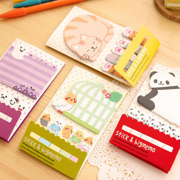 Animal Cat Panda Cute Kawaii Sticky Notes Post It Memo Pad School Supplies Planner Stickers Paper Bookmarks Korean Stationery