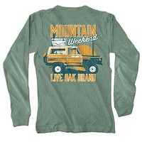 Mountain Weekend Long Sleeve Tee in Light Green by Live Oak