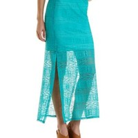 Geometric Lace Maxi Skirt by Charlotte Russe