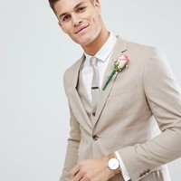 Moss London Skinny Wedding Suit Jacket In Latte at asos.com