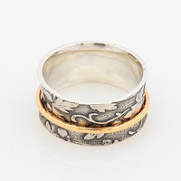 Silver and Gold Spinner Ring - Leaf Motif Ring - Concave Comfort Fit Ring - Nature Inspired Woodland Ring - Handmade Gold spinner ring
