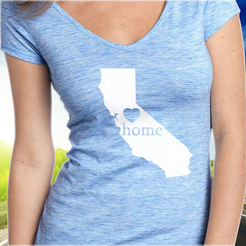 California Home T-Shirt - V-Neck - State Pride - Home Tee - Clothing - Womens - Ladies