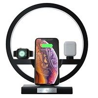 3 IN 1 QI Fast Wireless Charger Dock for iPhone 11 Pro Max for Apple Watch iWatch 1 2 3 4 5 Airpods Charger Holder LED Lamp