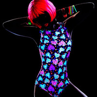 Blacklight Reactive All Animated Hearts Glow Romper