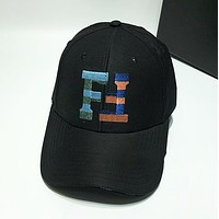 Fendi New fashion embroidery letter couple hat cap Black