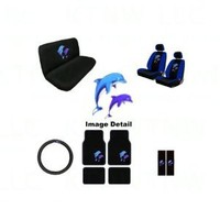 Ocean Blue Dolphins Seat Covers and Floor Mats for Car, SUV - Auto Accessories Interior Kit Gift Set