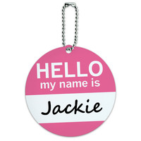 Jackie Hello My Name Is Round ID Card Luggage Tag