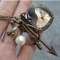 The Hunger Games ,Inspired Mockingjay ,peeta's pearl,tree and Arrow heart pocket watch Necklace -antique brass
