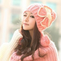 Bowknot Decorated Knitting Trapper Hat
