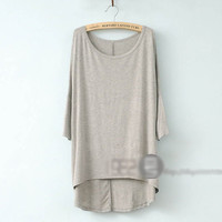 Women Loose Casual Draped 3/4 Sleeve Modal Basic Tee Top T-Shirt Scoop Crew Neck