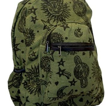 Sun Moon Planets and Stars Celestial Backpack (Green)