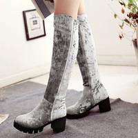 Grey Velvet Knee High Boots For Women Autumn And Winter Shoes Thick Heel Side Zipper Motorcycle Boots Alternative Measures
