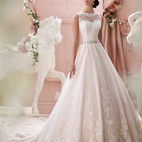 Wedding Dresses Vestido De Noiva Modest A-line Sheer Sweetheart Appliqued Lace Beaded Belt Backless Wedding Dress