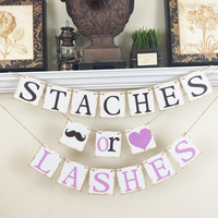 Staches or Lashes Banner, Gender Reveal banner, Baby Shower Decor, Baby Shower ideas, Pink or Blue