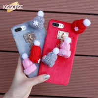 KISSCASE Case For iPhone 8 7 6S 6 Plus Cute Winter Warm Knitted Hat Cases Christmas Girly Hair Fur Plush Back Cover Accessories