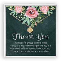 Thank You  Engraved Disc Necklace