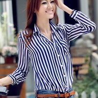 Casual Stripes Long Sleeve Chiffon & Shirt Free ship