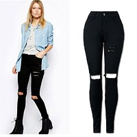 2017 New Women Cool Ripped Knee Cut Leggings Jeans High Waist Skinny Long Hole Jeans Pants Slim Pencil Plus Size Trousers Black