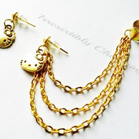 Sale....Antique bronze, silver or gold  hello kitty ear cuff earrings (pair)