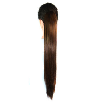 Claw Clip Long Straight Horsetail Wig  light brown