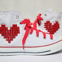Studded Converse Red Heart Pattern White High Top by CandyKindaRock on Etsy
