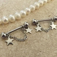 Star Silver Nipple Ring 14ga Barbell Body Jewelry Stainless Steel 1 Set
