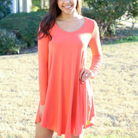 Simple Does It Dress - Coral