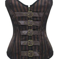 Steel Boned Steampunk Brown Striped Overbust Corset Waist Shaper