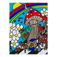 Psychedelic Mushroom and Smoking Gnome