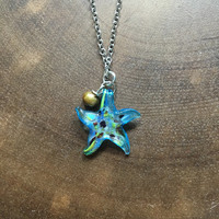Starfish Necklace, Delicate Necklace, Summer Necklace, Dainty Necklace, Colorful Necklace, Beach Necklace, Glass Starfish Jewlery
