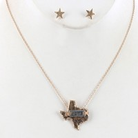 State Of Texas Matte Finish  Star Heart Home Necklace Earring Set