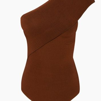 Tep One Shoulder Knit One Piece Swimsuit - Caramel Brown