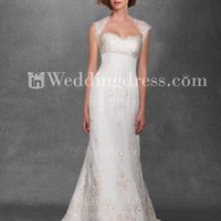 Fit-n-Flared Tulle Lace Destination Bridal Gown with Beading