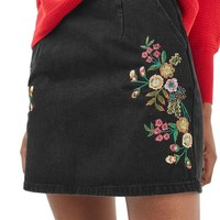 Topshop Embroidered Denim A-Line Skirt | Nordstrom