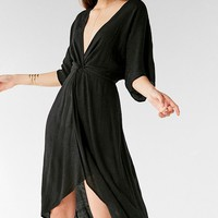 UO Twist-Front Plunging Midi Dress | Urban Outfitters