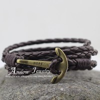 LOW0144LB  Jewelry 's Bracelet PU Leather 60cm Friend Unisex Punk Rock Anchor Bracelets Mother