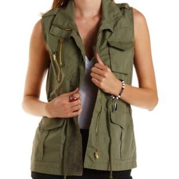 Drawstring Cotton Utility Vest by Charlotte Russe - Olive
