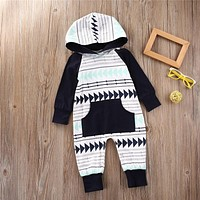 2016 Autumn Winter Baby Boy Clothes Baby Rompers Fleece Newborn Clothing One Piece baby girl clothes Romper Hooded Sleepwear