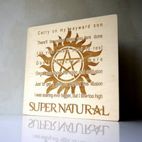 Anti-Possession Symbol Engraved Wall Art OST Supernatural Series Sign Wood Burned Kansas - Carry On My Wayward Son Gift for Her Gift for Him