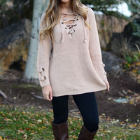 Path Less Traveled Sweater- Taupe