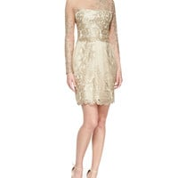 Long-Sleeve Embroidered Overlay Cocktail Dress